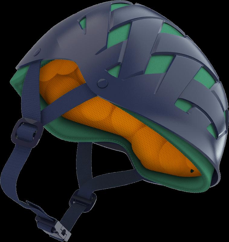 Ao contrário dos tradicionais capacetes, o Rockwell utiliza pequenas bolsas  plásticas deformáveis para proteger a 018ca6b002
