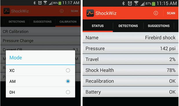 O aplicativo do ShockWiz permite ao utilizador calibrar o amortecedor da bike de forma rápida e prática, de acordo com informações fornecidas pelo sensor