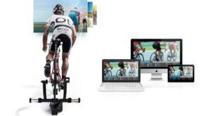 cb504254edff3 Rolo de treino utiliza software de realidade virtual 3D para permitir a  escolha de pedalar por entre mais de 500 mil rotas e provas - incluindo o  Giro ...